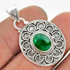 925 sterling silver 3.14cts natural green emerald pendant jewelry t42970