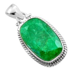 925 sterling silver 15.18cts natural green emerald pendant jewelry t47236
