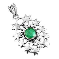 925 sterling silver 3.28cts natural green emerald round pendant jewelry r19568