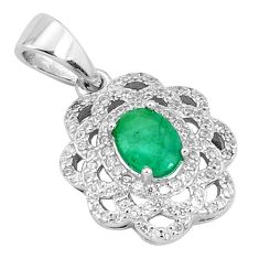 3.47cts natural green emerald topaz 925 sterling silver pendant jewelry c18106