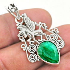925 sterling silver 6.25cts natural green emerald unicorn pendant jewelry t40795