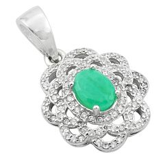 925 sterling silver natural green emerald white topaz pendant jewelry c18104
