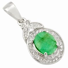 925 sterling silver 5.22cts natural green emerald white topaz pendant c9994