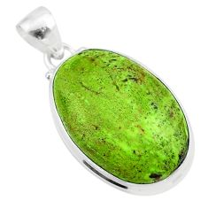925 sterling silver 17.10cts natural green gaspeite oval pendant jewelry t54740