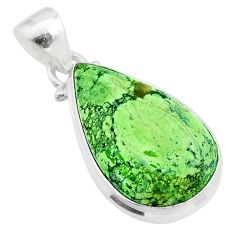 925 sterling silver 12.22cts natural green gaspeite pear pendant jewelry t54726