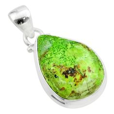 925 sterling silver 12.58cts natural green gaspeite pendant jewelry t54723