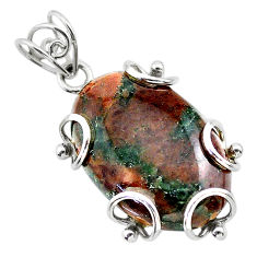 925 sterling silver 23.95cts natural green grass garnet oval pendant t31828