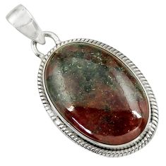 Clearance Sale- 925 sterling silver 19.72cts natural green grass garnet pendant jewelry d41568