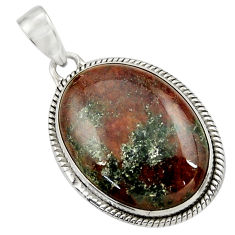 Clearance Sale- 925 sterling silver 22.59cts natural green grass garnet pendant jewelry d41580