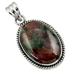 925 sterling silver 19.50cts natural green grass garnet pendant jewelry r31925