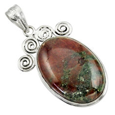925 sterling silver 25.00cts natural green grass garnet pendant jewelry r31929