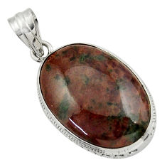 925 sterling silver 21.58cts natural green grass garnet pendant jewelry r31939