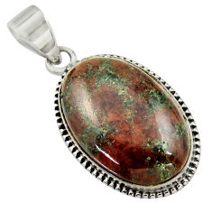 925 sterling silver 19.72cts natural green grass garnet pendant jewelry r41684