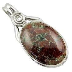 925 sterling silver 20.07cts natural green grass garnet pendant jewelry r41692