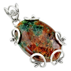 925 sterling silver 24.89cts natural green grass garnet pendant jewelry t31824