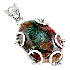 925 sterling silver 22.57cts natural green grass garnet pendant jewelry t31826