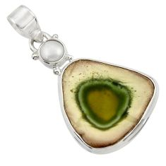 925 sterling silver 14.72cts natural green imperial jasper pearl pendant d45098