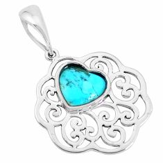 925 sterling silver 3.32cts natural green kingman turquoise heart pendant c10847