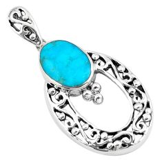 925 sterling silver 2.72cts natural green kingman turquoise oval pendant c10904