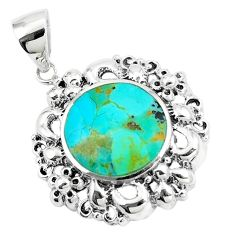 925 sterling silver 7.39cts natural green kingman turquoise pendant c10821