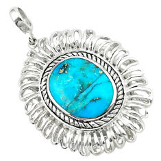 5.84cts natural green kingman turquoise 925 sterling silver pendant c10827