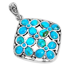 925 sterling silver 6.72cts natural green kingman turquoise pendant c10841