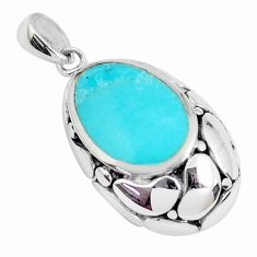 1.84cts natural green kingman turquoise 925 sterling silver pendant c10878