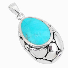 925 sterling silver 1.74cts natural green kingman turquoise pendant c10880