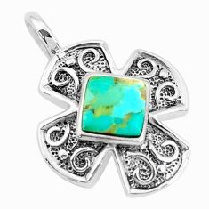 925 sterling silver 2.54cts natural green kingman turquoise pendant c10897