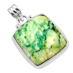 925 sterling silver 16.87cts natural green mariposite octagan pendant t22684