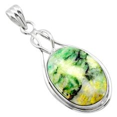 925 sterling silver 16.39cts natural green mariposite oval pendant t22691
