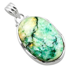 925 sterling silver 17.93cts natural green mariposite oval pendant t22698