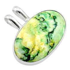 925 sterling silver 18.15cts natural green mariposite oval pendant t22708