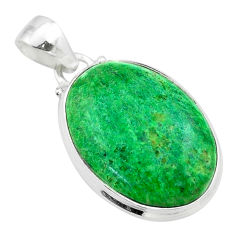 925 sterling silver 14.09cts natural green maw sit sit oval pendant t54688