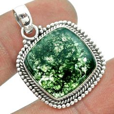 925 sterling silver 13.77cts natural green moss agate cushion pendant t55994