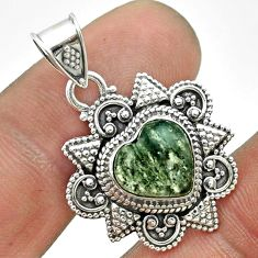 925 sterling silver 4.84cts natural green moss agate heart pendant t56048