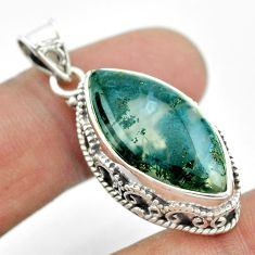 925 sterling silver 15.31cts natural green moss agate marquise pendant t53232