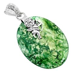 925 sterling silver 24.06cts natural green moss agate oval angel pendant r74494