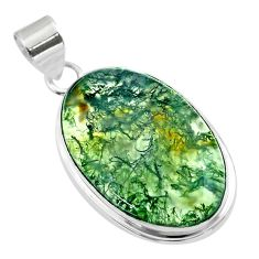 925 sterling silver 20.67cts natural green moss agate oval pendant t53591
