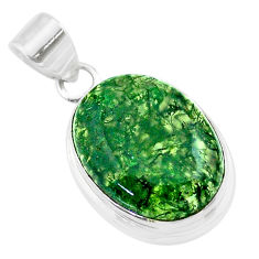 925 sterling silver 17.07cts natural green moss agate oval pendant t53594