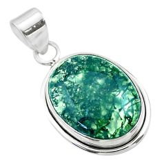 925 sterling silver 13.22cts natural green moss agate oval pendant t53603