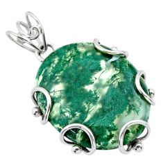 925 sterling silver 23.46cts natural green moss agate oval shape pendant t31864