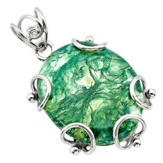 925 sterling silver 18.04cts natural green moss agate oval shape pendant t31867