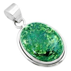 925 sterling silver 14.20cts natural green moss agate oval shape pendant t53583