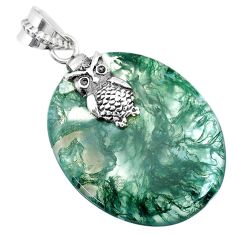 925 silver 30.30cts natural green moss agate owl handmade pendant r74500
