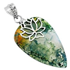 925 sterling silver 23.45cts natural green moss agate pear shape pendant r74497