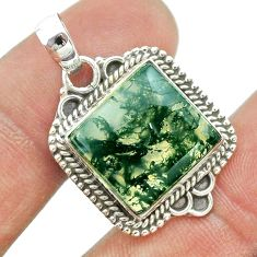 925 sterling silver 12.36cts natural green moss agate pendant jewelry t53235