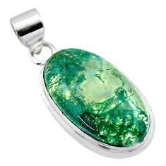 925 sterling silver 16.87cts natural green moss agate pendant jewelry t53585