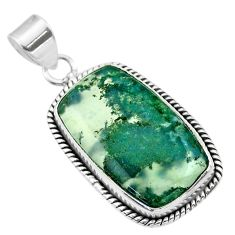 925 sterling silver 15.65cts natural green moss agate pendant jewelry t53588