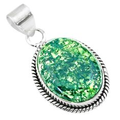925 sterling silver 12.58cts natural green moss agate pendant jewelry t53597